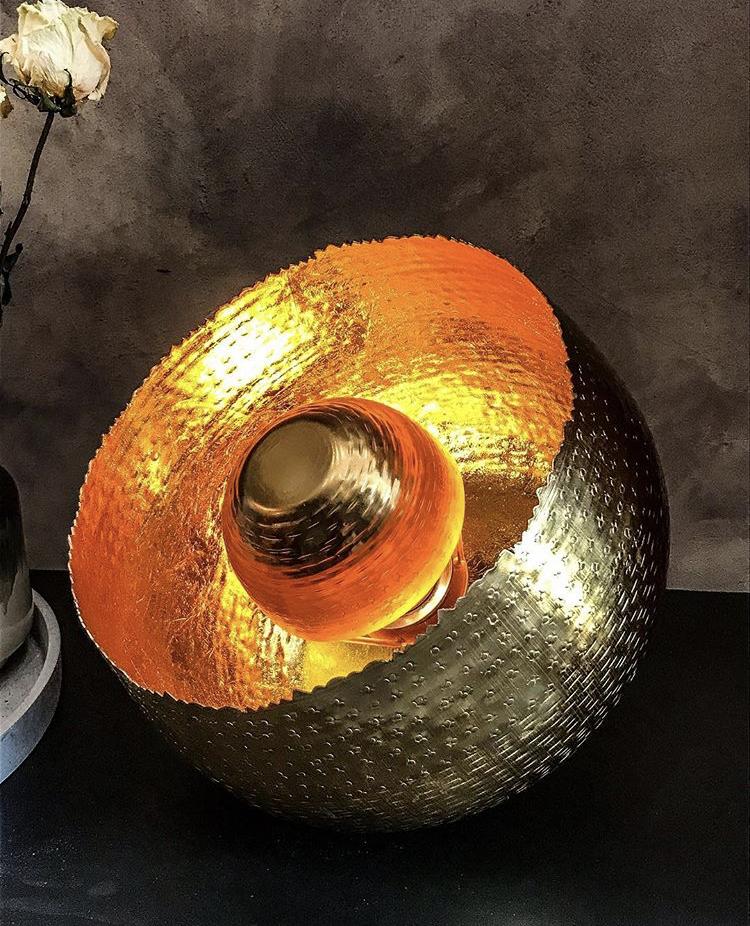 lampe ronde dorée apollon