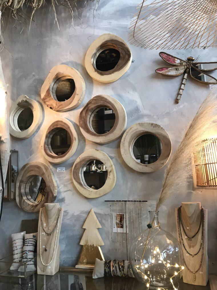 miroir rondin bois