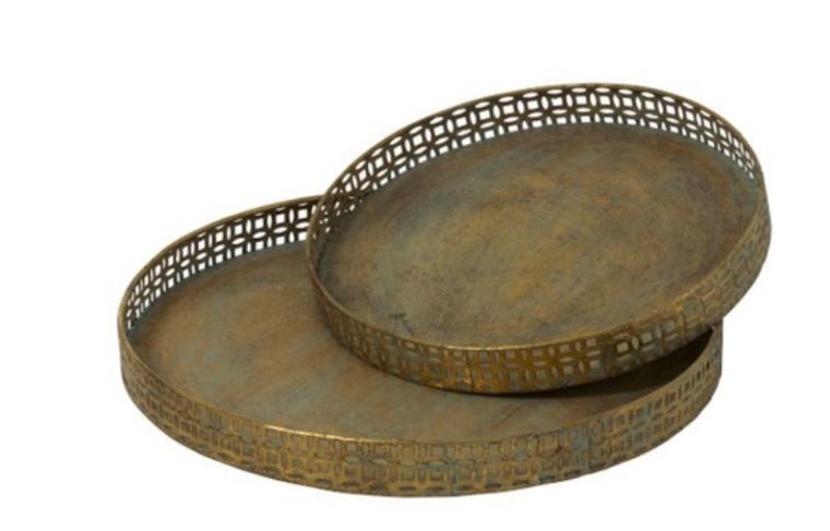 Plateau métal dorée