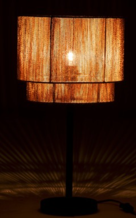 Lampe corde metal noir