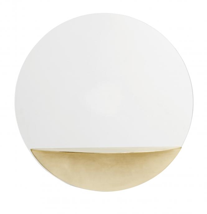 Miroir rond avec support gold