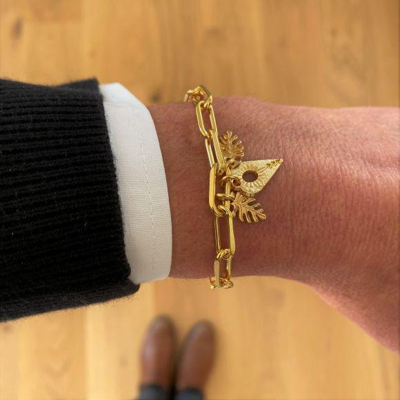 Bracelet chaîne coeur ajouré et feuilles