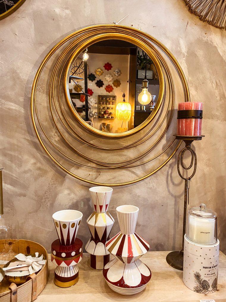 Miroir rond laiton ajouré