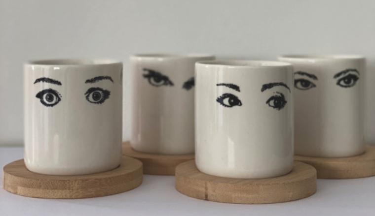 Coffret de 4 tasses oeil