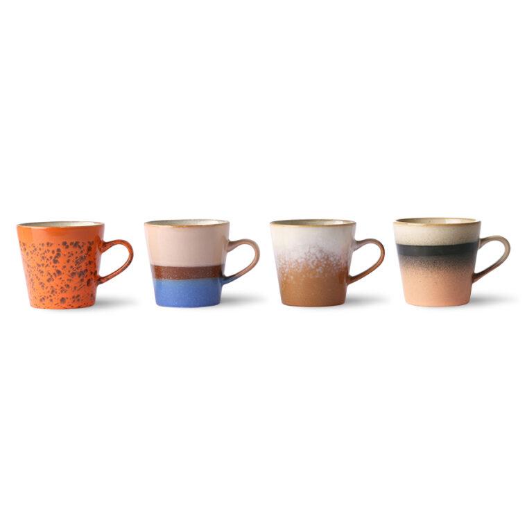 Set de 4 tasses à café avec anses collection 70s Ceramics