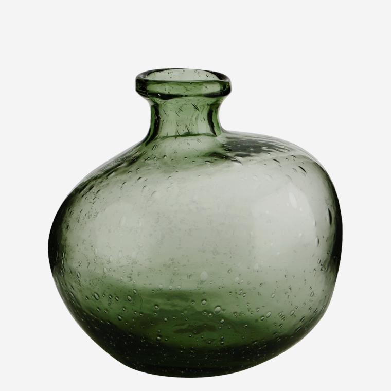 Vase en verre souflé et bullé