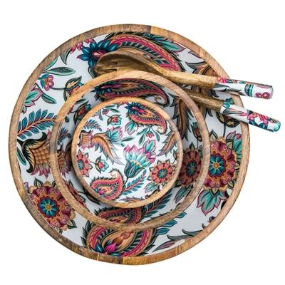 Vaisselle bois de manguier design arabesque