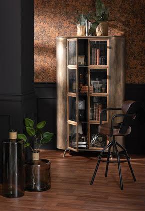 Commode RANA bois blanc et laiton 89 x 42 x 119 cm