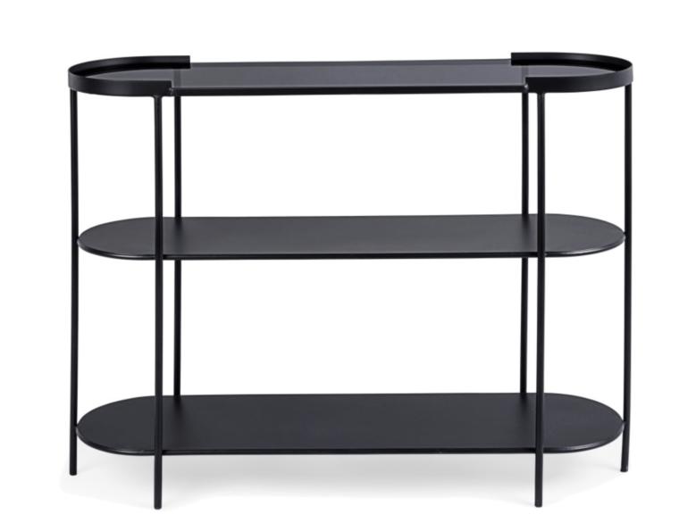 La console Korvet est une console fixe au design minimaliste, pur et essentiel. Polyvalente et fonctionnelle, c'est la solution idéale pour apporter une touche moderne et industrielle à l'espace de vie. Dimensions : 100 x 31 cm Matériaux : structure en acier peint et étagères en verre trempé
