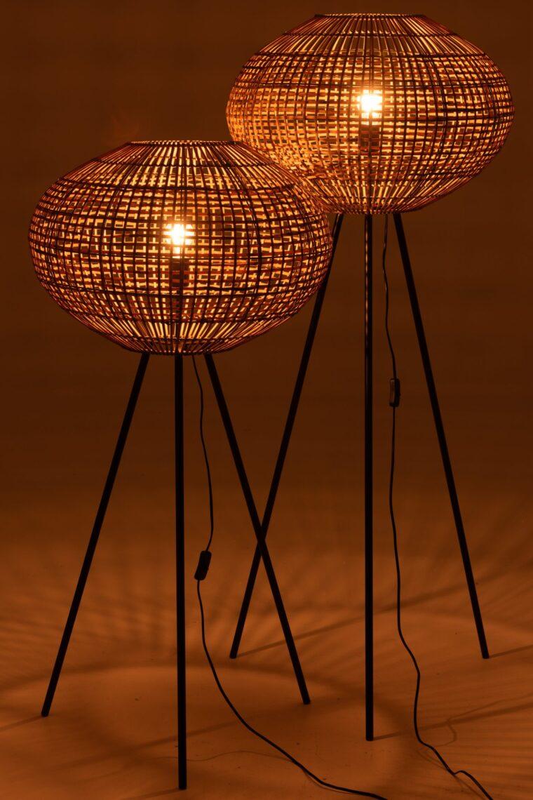 lampadaire rotin