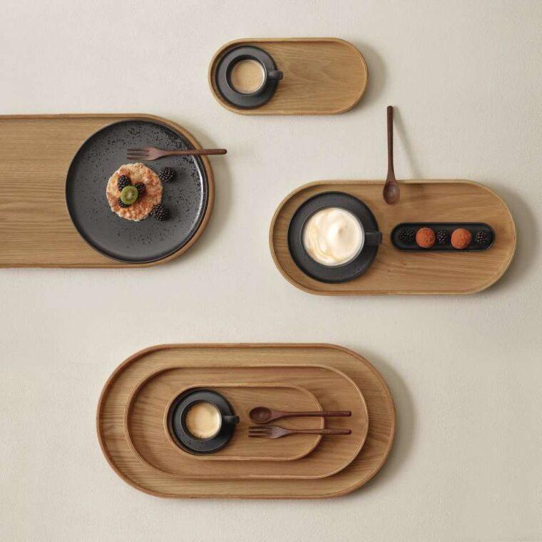 Plateaux en bois forme ovale S, M et L